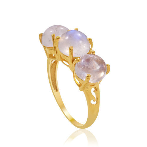 Rainbow Moonstone (Rnd) Trilogy Ring in 14K Gold Overlay Sterling Silver 7.000 Ct.