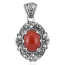 Royal Bali Collection Red Jade (Ovl) Solitaire Pendant in Sterling Silver 6.030 Ct.