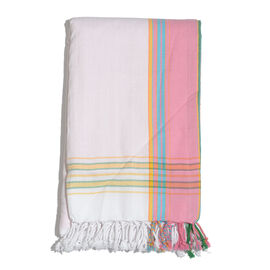 100% Cotton (Front) and 100% Polyester (Back) White with Light Pink Border Kikoy Beach Towel (Size 160x90 Cm) with a Concealed Pocket