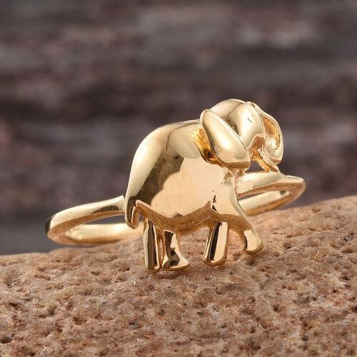 Elephant Stackable Silver Ring in Gold Overlay, Silver Wt. 3.82 Gms