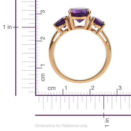 Lusaka Amethyst (Ovl 2.25 Ct) 3 Stone Ring in 14K Gold Overlay Sterling Silver 3.500 Ct.