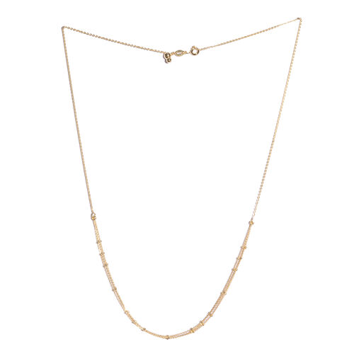 14K Gold Overlay Sterling Silver Adjustable 3 Strands Beads Necklace (Size 20)