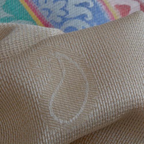 100% Modal Cream and Multi Colour Jacquard Scarf (Size 190x70 Cm)