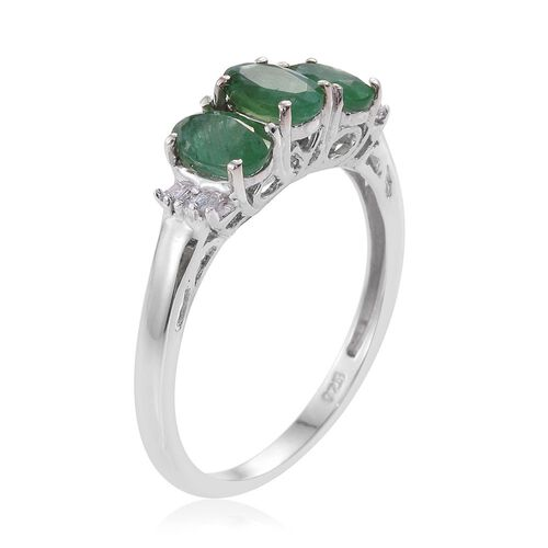 Kagem Zambian Emerald (Ovl), Diamond Ring in Platinum Overlay Sterling Silver 1.500 Ct.