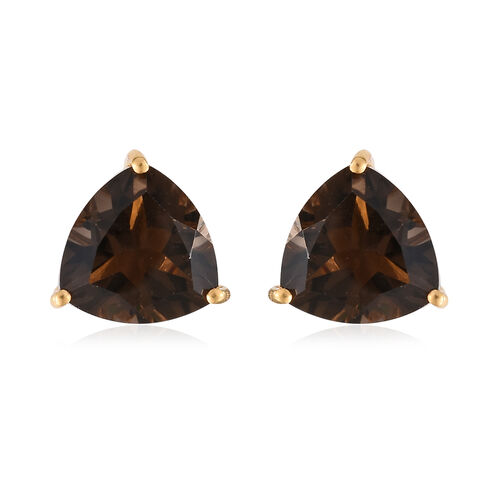 Brazilian Smoky Quartz (Trl) 6 Carat Silver Stud Earrings in 14K Gold Overlay (with Push Back)