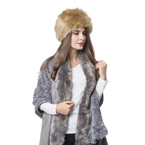 Chocolate Colour Faux Fur Hat (Size 30X18 Cm)