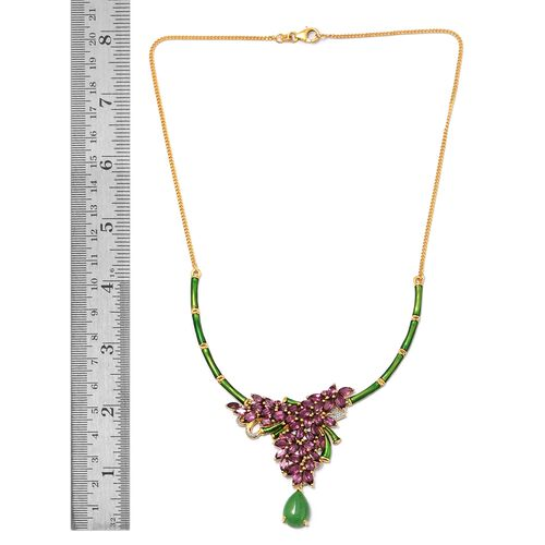 GP Green Jade (Pear 6.40 Ct), Kanchanaburi Blue Sapphire, Rhodolite Garnet and Natural Cambodian Zircon Enameled Floral Necklace (Size 18) in 14K Gold Overlay Sterling Silver 20.000 Ct.