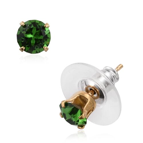 Super Auction-Set of 5 - J Francis Crystal from Swarovski - Shine Crystal ,Fern Green, AB Colour,Turquoise and Tangerine Colour Crystal Earrings (with Push Back) in 14K Gold Overlay Sterling Silver