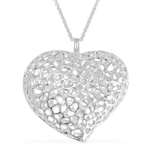 RACHEL GALLEY Rhodium Plated Sterling Silver Amore Heart Pebble Lattice Necklace (Size 30), Silver wt 30.00 Gms.