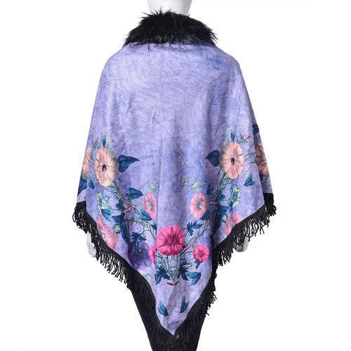 Designer Inspired Purple Floral Pattern Faux Fur Collar Reversible Poncho with Tassels (Free Size)
