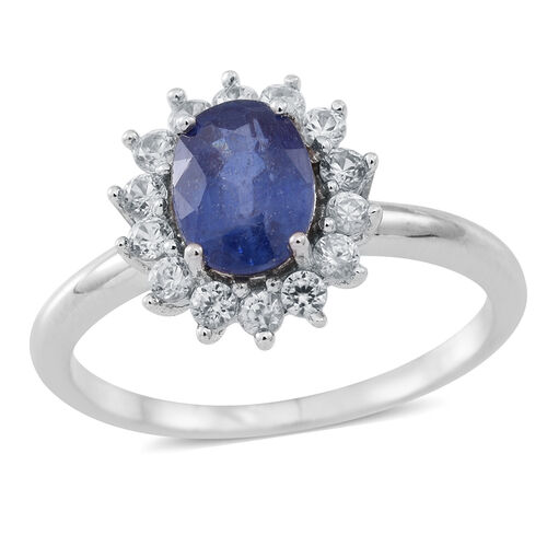 Masoala Sapphire (Ovl 1.80 Ct), Natural Cambodian White Zircon Ring in Rhodium Plated Sterling Silver 2.500 Ct.