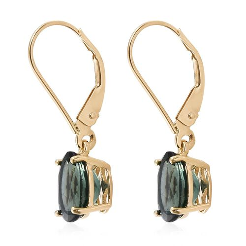 9K Yellow Gold AAA Natural Indian Ocean Apatite (Ovl) Lever Back Earrings 3.000 Ct.