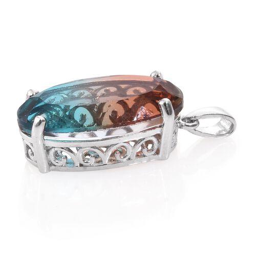 Aqua Terra Costa Quartz (Ovl) Pendant in Platinum Overlay Sterling Silver 10.500 Ct.