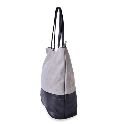 Black and Grey Colour Block Large Carryall Tote Bag (Size 43x38x31x14.5 Cm)