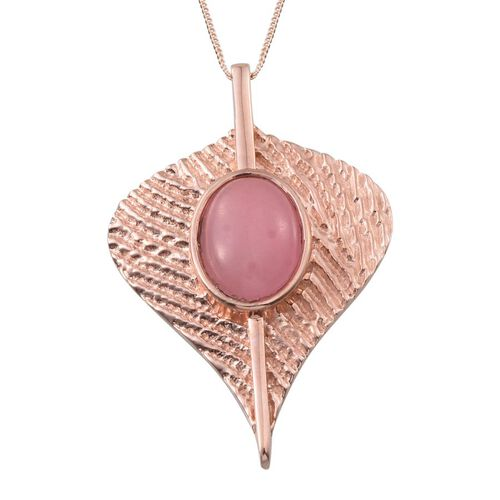 Pink Jade (Ovl) Leaf Pendant With Chain in Rose Gold Overlay Sterling Silver 11.400 Ct.