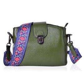 Genuine Leather Green Colour Shoulder Bag with Buckle Lock and Colourful Removable Shoulder Strap (Size 25.5X19X12 Cm)