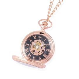 GENOA Automatic Skeleton Black and Rose Gold Dial Water Resistant Pocket Watch with Cover and Chain (Size 32) in Rose Gold Tone