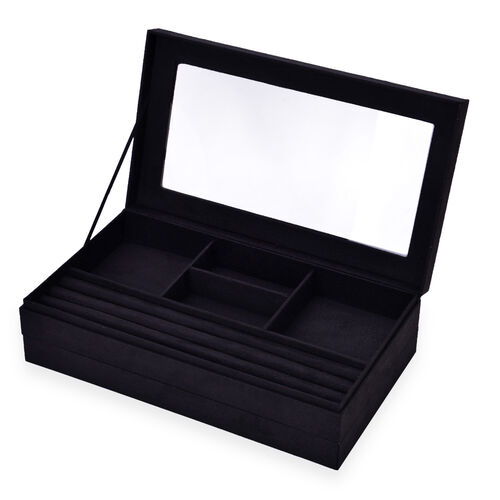 Black Colour Velvet 2 Stackes Jewellery Box with Removable 110 Ring Slots Tray (Size 37x21x10 Cm)