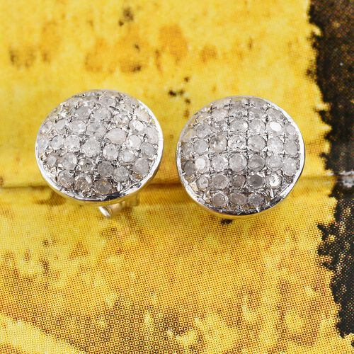 Diamond (Rnd) Stud Earrings (with Push Back) in Platinum Overlay Sterling Silver 0.335 Ct.