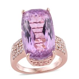 TJC Exclusive-ILIANA 18K R Gold AAA Kunzite (Cush 21.00 Ct), Natural Pink Diamond Ring 21.500 Ct. Gold Wt 10.25 Gms