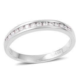 ILIANA 18K White Gold 0.25 Ct Diamond Half Eternity Band Ring IGI Certified (SI/G-H)