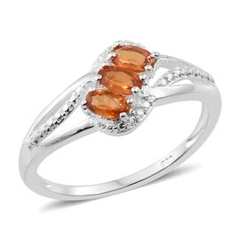 One Time Deal Orange Sapphire (Ovl) Trilogy Ring in Sterling Silver