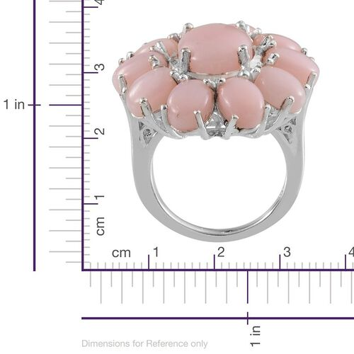 Peruvian Pink Opal (Ovl 2.75 Ct) Floral Ring in Platinum Overlay Sterling Silver 10.250 Ct.