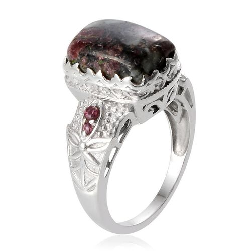 Natural Russian Eudialyte (Cush 5.50 Ct), Rhodolite Garnet Ring in Platinum Overlay Sterling Silver 5.650 Ct.