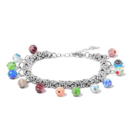 Limited Edition - Genuine Italian Murano Glass Beads Byzantine Bracelet (Size 7.5 with 1 inch Extender) in Silver Tone