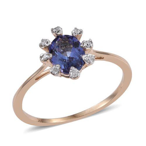 9K Y Gold Tanzanite (Ovl 1.40 Ct), Diamond Ring 1.500 Ct.
