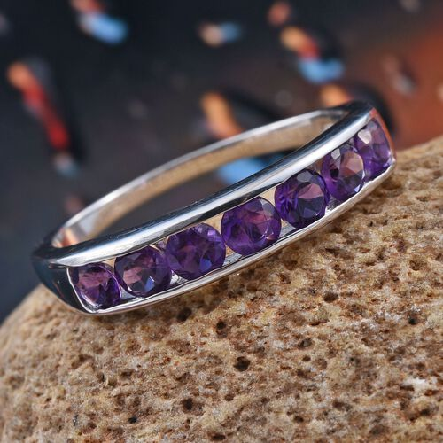 Uruguay Amethyst (Rnd) 7 Stone Half Eternity Band Ring in Platinum Overlay Sterling Silver 1.250 Ct.