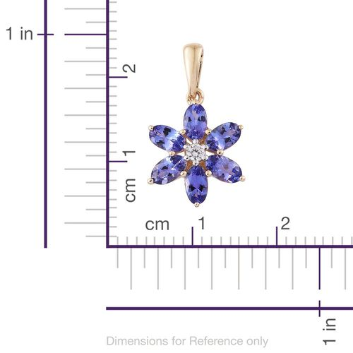 9K Yellow Gold 1.49 Ct AA Tanzanite Flower Pendant with Natural Cambodian Zircon