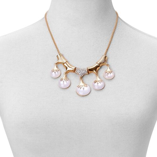 Designer Inspired - White Austrian Crystal BIB Necklace (Size 20 with 2 inch Extender) in Yellow Gold Tone