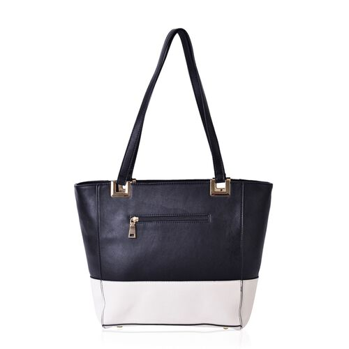 Black and White Colour Tote Bag with External Zipper Pocket (Size 40x28x27x13.5 Cm)