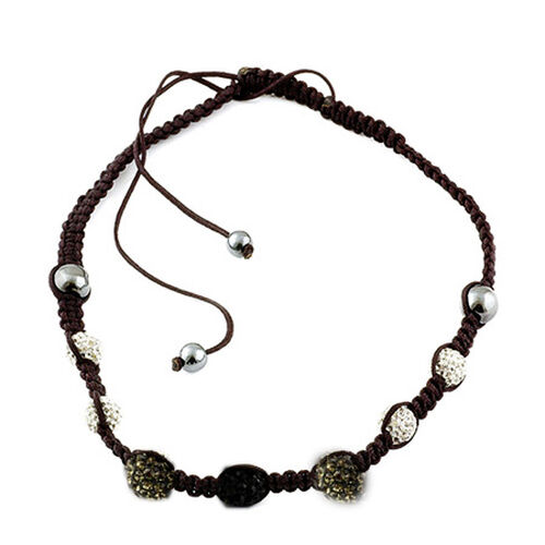 Silver, Black and White Austrian Crystal, Hematite Necklace (Adjustable)