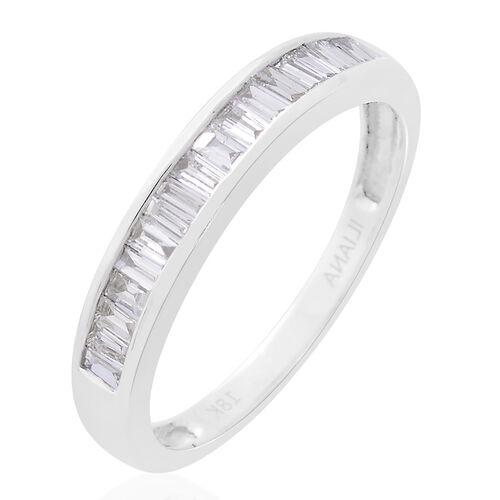 ILIANA 18K W Gold IGI Certified Diamond (Bgt) (SI/G-H) Half Eternity Band Ring 0.500 Ct.