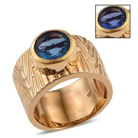 Colour Change Fluorite (Rnd) Ring in 14K Gold Overlay Sterling Silver 3.250 Ct.