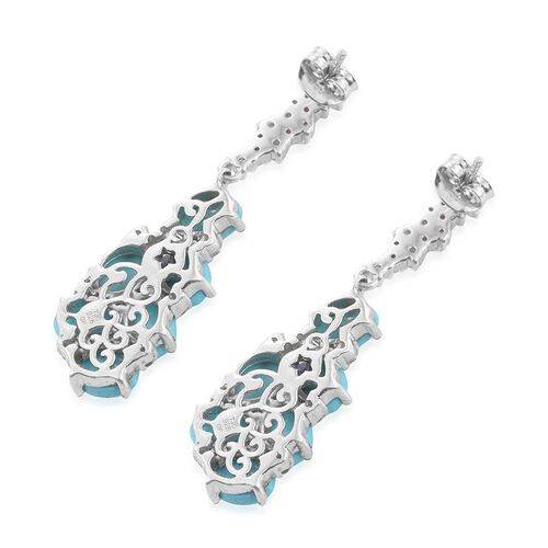 GP Arizona Sleeping Beauty Turquoise (Ovl), Natural Cambodian Zircon and Kanchanaburi Blue Sapphire Earrings (with Push Back) in Platinum Overlay Sterling Silver 10.000 Ct.