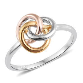 Designer Inspired- Tri Colour Sterling Silver Knot Ring