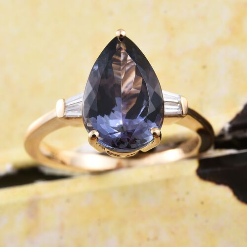 ILIANA 18K Yellow Gold 4.85 Ct AAA Peacock Tanzanite Ring with Diamond SI G-H