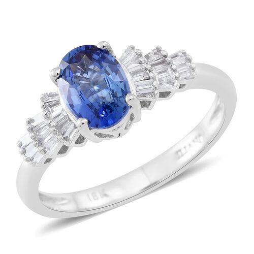 ILIANA 18K W Gold AAA Ceylon Blue Sapphire (Ovl), Diamond Ring 1.000 Ct.