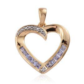 Tanzanite, Diamond 0.51 Ct Silver Heart Pendant in 14K Gold Overlay