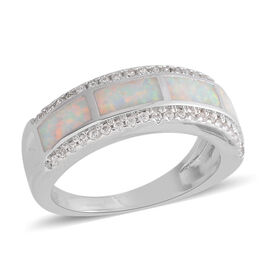 Simulated Opal and Simulated Diamond Ring in Silver Plated