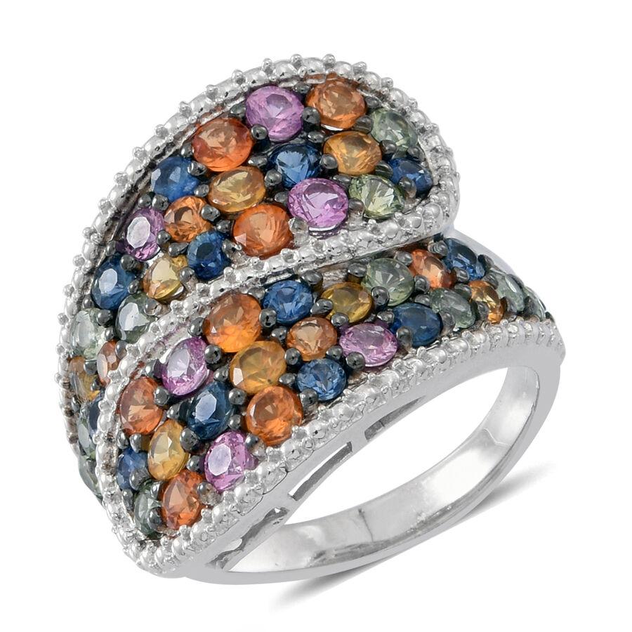 AAA Rainbow Sapphire Ring in Rhodium Plated Silver 4.750 Ct. jVI65Oz