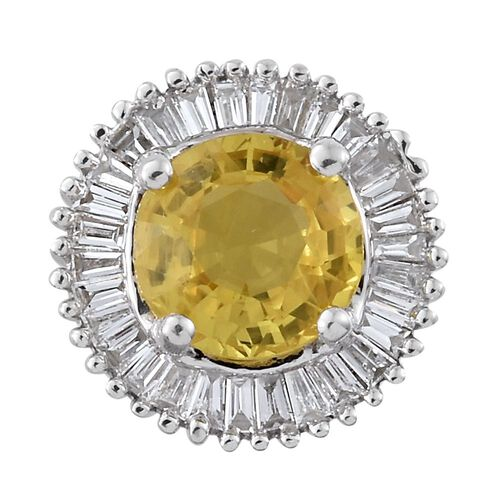 Limited Edition - ILIANA 18K White Gold AAA Chanthaburi Yellow Sapphire (Rnd 1.05 Ct), Diamond (SI - G/H) Pendant 1.250 Ct.