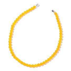 AAA Honey Jade Beads Necklace (Size 18) with Magnetic Clasp in Rhodium Plated Sterling Silver 250.000 Ct.
