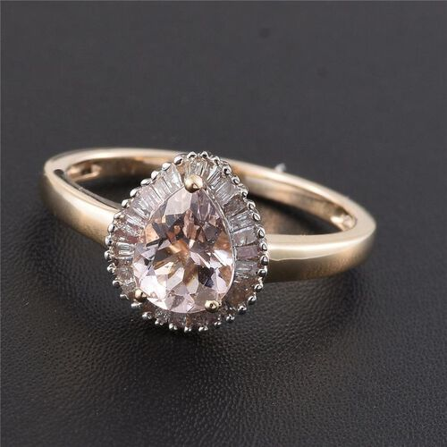 9K Yellow Gold 1 Carat AA Marropino Morganite Halo Ring with Diamond I4/H-I