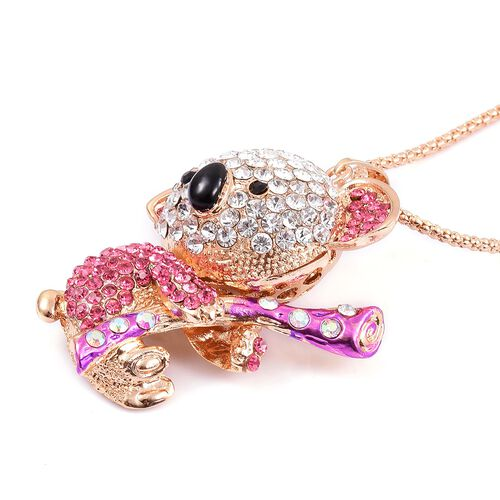 AAA Multi Colour Austrian Crystal Bear Pendant With Chain Yellow Gold Tone