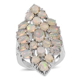 GP Ethiopian Welo Opal (Ovl 0.55 Ct), Natural Cambodian Zircon and Kanchanaburi Blue Sapphire Cluster Ring in Platinum Overlay Sterling Silver 5.250 Ct.