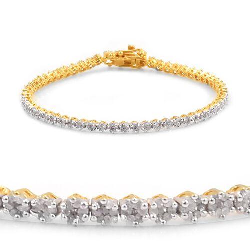Diamond (Rnd) Bracelet (Size 7) in 14K Gold Overlay Sterling Silver 2.000 Ct.
